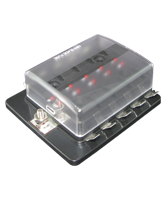 QVFBM10LED 10 Way Mini Blade Fuse Block with Single Power In