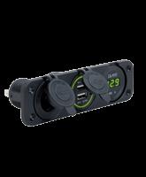 QVPSFM3AUV Triple Flush Mount Accessory / Twin USB / Volt Meter