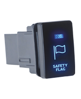QVSWPR10B Small Toyota Safety Flag Switch with Blue Illumination On-Off